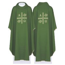 بدلة قداس اخضر - صليب مع الفا واوميغا