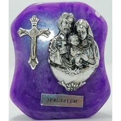 مجسم على رخام (العائلة المقدسة وصليب) - لون بنفسجي