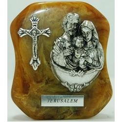 مجسم على رخام (العائلة المقدسة وصليب) - لون زيتي