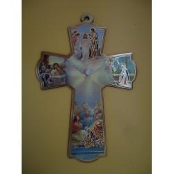 صليب حائط خشب مع رسومات مقدسة 2