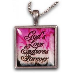 قلادة من كريستال ورزين وإطار نحاسي ابيض God's love Endures for ever