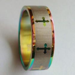 خاتم ذهبي ملوّن (حجم 7)